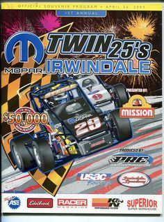 irwindale speedway usac midget race program-4/26/2003-1st annual twin 25's-vf/nm from $29.75