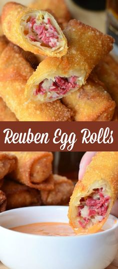 Reuben Egg Rolls are made with corned beef cheese and sauerkraut fried to golden deliciousness and served with Thousand Island dressing. Reuben Egg Roll Recipe, Egg Roll Recipes, Baking Recipes, Armenian Recipes, Irish Recipes, Armenian Food, Reuben Sandwich, Finger Food Appetizers, Appetizer Recipes