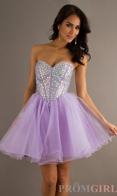 Short Strapless Purple Party Dress, Homecoming Dresses- PromGirl $158