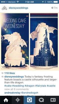Instagram Disneyweddings posted this awesome wedding cake! Do I have to even get married to have this cake because this is just THAT fantastic!! #cake #wedding #couturecake #disney #weddingcake #fancycakes #customcake #dragoncake #castlecake #sleepingbeautycake #Malificent   Http://Instagram.com/Disneyweddings