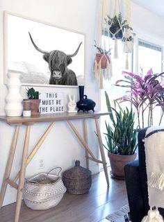 Highland Cow Print by Little Ink Empire. Boho Home | Bohemian Home | Boho Decor | Boho Art | Modern Boho Lounge Room | Modern Bohemian House | Bohemian Artwork | Modern Boho Living Room.