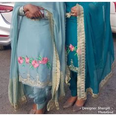 Instagram photo by Designer Shergill • Jun 4, 2019 at 8:42 AM Embroidery Suits Punjabi, Kurti Embroidery Design, Hand Embroidery, Embroidery Dress, Machine Embroidery, Women Salwar Suit, Salwar Suits Simple, Party Wear Indian Dresses, Indian Bridal Wear