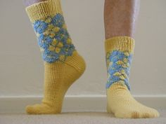 Ravelry: Project Gallery for Sneaky Argyle Socks pattern by Wendy D. Johnson, For David in Navy and Light Blue
