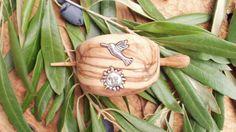 Hand carved Greek Olive Wood hair buckle inlaid by ellenisworkshop, $52.00