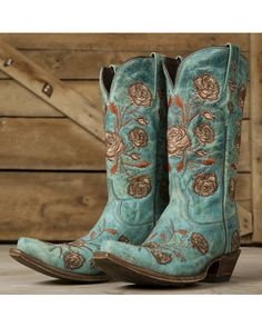 Lucchese Women's Turquoise Crater Calf Boot