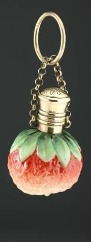 c1890 glass strawberry scent perfume bottle