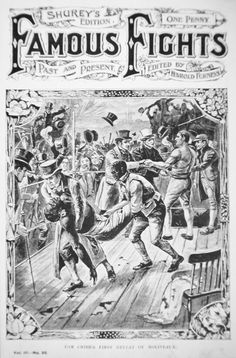 Tom Cribb, Champion of England, defeats black American Tom Molineaux, 18th December, 1810 at Copthall Common, England, front cover of 'Famous Fights' published c.1908 by English School Weekly Newspaper, Newspaper Cover, Mendoza, Bare Knuckle Boxing, Present Day, Past, Champion, England, History