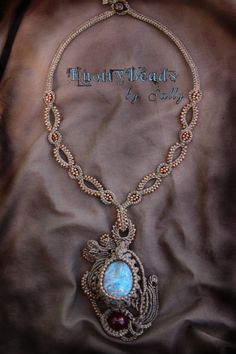 Abstract Universe Macrame Necklace ~ Blue Natural Stone wrapped Cabochon ~ Macrame Jewelry