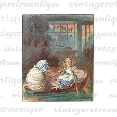 Digital Printable Rowing the Sheep Graphic Alice in Wonderland Download Color Illustration Image Antique Clip Art. Digital illustration for printing, transfers, tea towels, pillows, t-shirts, tote bags, and other great uses. Great for use on etsy items. This digital graphic is high quality and high resolution at size 8½ x 11 inches. Transparent background PNG version included.
