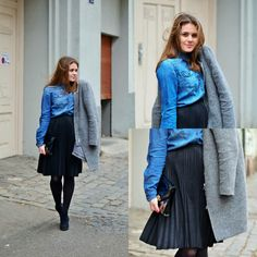 Denim shirt with black skirt and heels. Outfits with gray coat.