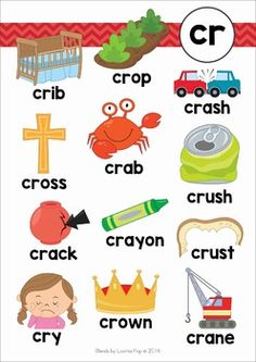 CR Blends Worksheets and Activities. Phonics Chart, Phonics Blends, Phonics Worksheets, Reading Worksheets, Learning Phonics, Phonics Reading, Kids Learning Activities, Kindergarten Reading, Teaching Reading