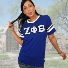 Zeta Phi Beta Striped Tee with Twill Letters $19.95 #Greek #Sorority #Clothing #Zeta #ZetaPhiBeta