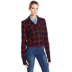 66ee1dc2f08a7 Eleven Paris Women s Wool Plaid Motorcycle Jacket ( 33) ❤ liked on Polyvore  featuring outerwear