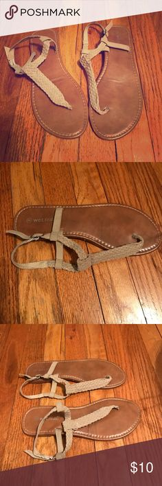 Wet seal sandals Wet seal-size 8-good condition-tan braided strap-adjustable Wet Seal Shoes Sandals