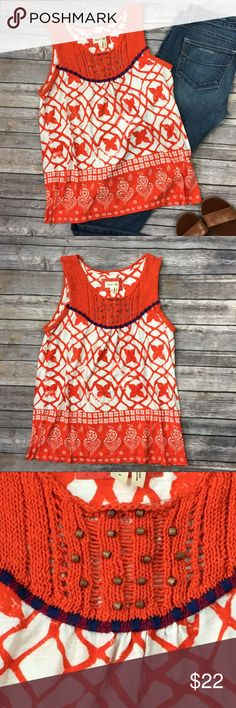 """Anthropologie Meadow Rue Mixed Media Tank Top Great condition. Anthropologie Meadow Rue Mixed Media Tank Top Size Small.  Approximate measurements  Armpit-Armpit: 18"""" Length: 25"""" Fabric: 60% cotton/40% Modal  No visible flaws or defects.  Please refer to photos as they provide the best description. No trades. Offers excepted. Anthropologie Tops Tank Tops"""