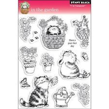 New  Penny Black RUBBER STAMP  IN THE GARDEN Cats Spring clear set free usa ship