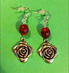 https://www.etsy.com/shop/MoggysMall  #earrings, #red, #beads, #silver, #flower, #rose, #valentines, #boho, #charms