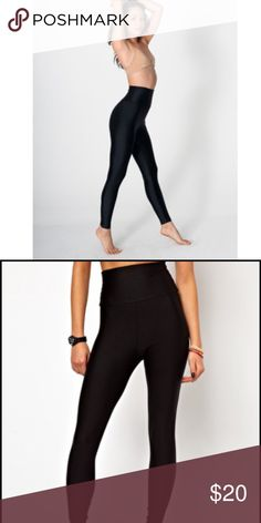 AA High waist Leggings with Sheen Super snug high waisted legging from AA with a sheen finish. Fun and comfy! Though they are snug they can be worn all day without becoming uncomfortable! Don't ride up or lose their shape. American Apparel Pants Leggings
