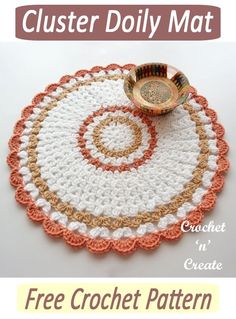 Pretty crochet doily mat, free crochet pattern, use on tables and sideboards around your home or on your walls. Go to crochetncreate to get the pattern. #crochet #doily #mandala #freecrochetpatterns Crochet Doily Patterns, Crochet Patterns For Beginners, Crochet Doilies, Crocheting Patterns, All Free Crochet, Double Crochet, Crochet Home Decor, Crochet Gifts, Crochet Things
