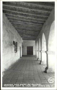 SAN DIEGO CA Mission San Diego de Alcala Corridor Old REAL PHOTO Postcard