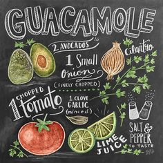 "Chalkboard Art - ""Guacamole Handlettering"" wall art by Lily and Val available at Great BIG Canvas. Chalk It Up, Chalk Art, Lily And Val, Chalk Lettering, Chalkboard Designs, Chalkboard Printable, Kitchen Art, Food Illustrations, Food Art"