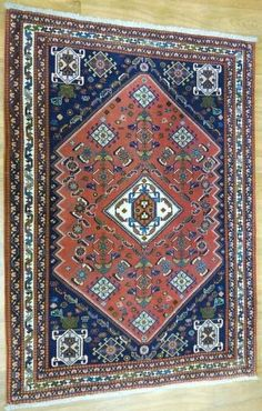"""NR: 15066 Location: Abadeh Size: 4'10""""x3'6"""" Country: Iran Pile: Wool Base: Cotton Nature Gif, Geometric Designs, Diamond Shapes, Rugs On Carpet, Iran, Crafts To Make, Runners, Colorful Backgrounds, Persian"""