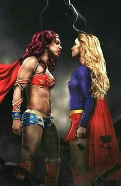 Sasha banks as wonder woman & Trish stratus as super girl this is sooo awesome!!!!!