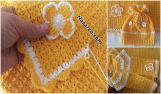 TIĞ MODEL SARI BATTANİYE BERE VE BEBEK  YELEK Baby Knitting Patterns, Crochet Flowers, Projects To Try, Tapestry, Hello Kitty, Caps Hats, Dots, Tejidos, Skirt