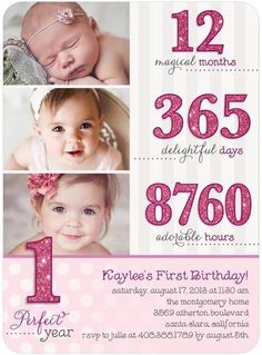 12 months, 265 days, 8760 hours. She might not remember her first birthday or her first year of life, but you always will. Send a birthday party invitation that will be cherished forever.