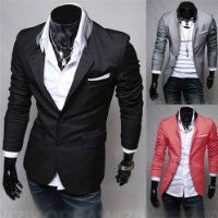 Mens Casual Dress Slim Fit Blazer... Fits really nice. Think i need to get the grey one now!