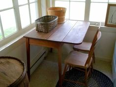 Antique pine droplet table & chairs