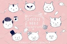 Hand-drawn KAWAII Doodle Cats by Paperly Studio on @creativemarket