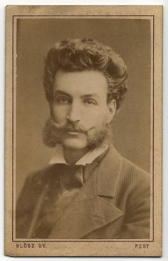 Unknown Hungarian Chap with excellent mustache.  Photographer: Klösz György (1844-1913), c. 1870-1873