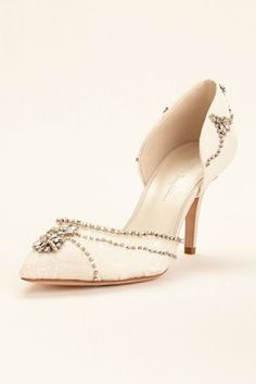 """Add a vintage touch to your look with this pointed toe lace heel with crystal chain swags.  Embellished with antique crystals.  Crystal embellishment beautifully coordinates with the Wonder by Jenny Packham bridal gown collection.  Heel height - 3"""".  Fully lined.  Imported. My perfect Cinderella Crystal Bridal Pumps!"""