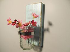 Spa Blue Shabby Chic Mason jar wall decor (Etsy) but I would want a little bigger jar and maybe put fish in there