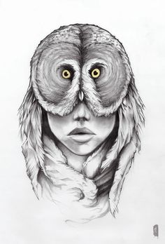 Drawing In Art Print Owl Drawing Female Face Mask Feathers Portrait Design - Art And Illustration, Human Drawing, Human Art, Animal Drawings, Art Drawings, Pencil Drawings, Art Visage, Animal Faces, Owl Art