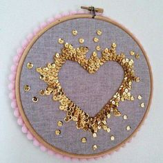 Gold heart sequin embroidery