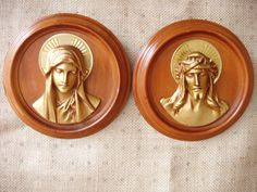 Vintage Religious Art Jesus & Mary Decorative Wall Plaque Hanging