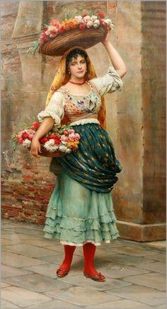 Oil painting by Eugene De Blaas (Italian, 1843-1932)