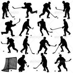 Buy Set of Silhouettes of Hockey Players by aarrows on GraphicRiver. Set of silhouettes of hockey player. Blackhawks Hockey, Hockey Goalie, Hockey Mom, Hockey Players, Hockey Tournaments, Hockey Birthday, Hockey Party, 4th Birthday, Silhouette Clip Art