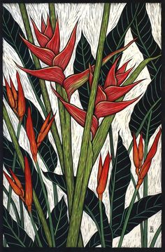 HELICONIA 78.5 X 51.5 CM  EDITION OF 50 HAND COLOURED LINOCUT ON HANDMADE JAPANESE PAPER $1,250