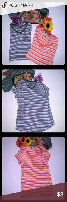 """SALE🌺 Faded Glory Bundle of 2 Tops Casual Wear: Faded Glory """"The shaped Tee"""" striped V-neck shirt.(Colors:blue,brown and white) 95%cotton/ 5%spandex Faded Glory stretch striped V-neck shirt(colors: dark and light pink,orange,yellow..)96%cotton/2%polyester/2%rubber Faded Glory Tops"""