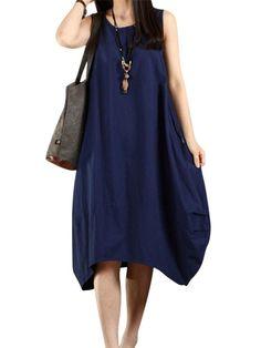 61381214ffcc46 Casual Women Solid Sleeveless Pockets Lantern Dress