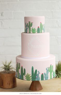 Mid-Century Cactus Cake with hand-painted details  253a939afa32