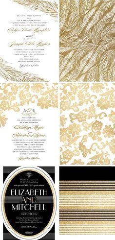 Gold wedding invitation ideas from Wedding Paper Divas