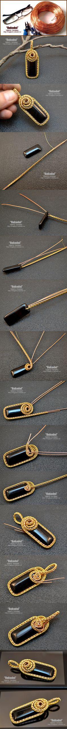 Рукодел. Wire wrap Pendant on Vorobev. Wire wrap tutorial. Go to the blog Rukodel - http://magazin-rukodel.ru/ #Rukodel, #Vorobev, #handmade, #wirewrap, #wirejewelry, #wirewrapped, #Jewelry, #tutorial, #WireWrapping, #Рукодел, #VikingKnit,