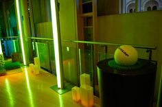 Neon lights gave the fuzzy green glow of tennis balls to the W New York. Photo: Jessica Torossian for BizBash