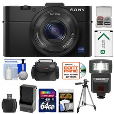 "Sony Cyber-Shot DSC-RX100 II Wi-Fi Digital Camera (Black) with 64GB Card + Battery & Charger + Case + Flash + Tripod + Accessory Kit. KIT INCLUDES 12 PRODUCTS -- All BRAND NEW Items with all Manufacturer-supplied Accessories + Full USA Warranties:. [1] Sony Cyber-Shot DSC-RX100 II Wi-Fi Digital Camera (Black) + [2] Transcend 64GB SDXC 300x Card + [3] Spare NP-BX1 Battery for Sony +. [4] Battery Charger for NP-BX1 + [5] PD 50"" Compact Travel Tripod + [6] Precision Design DSLR300 Flash…"