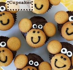 Monkey Cupcakes for Jungle Baby Shower - SO COOL - Vanilla Waffles and Chocolate . - Monkey Cupcakes for Jungle Baby Shower – SO COOL – Vanilla Waffles and Chocolate … - Monkey Birthday Parties, Safari Birthday Party, Jungle Party, Birthday Ideas, Birthday Cupcakes, Jungle Snacks, Birthday Boys, Monkey Cupcakes, Cute Cupcakes