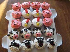 seriously adorable -- farm animal cupcakes